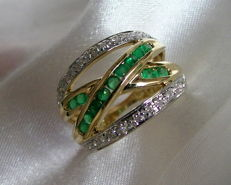 Broad emerald and diamond ring made of 585 gold – size: 18 – 56