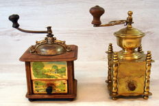 Two antique and rare coffee grinders from France.