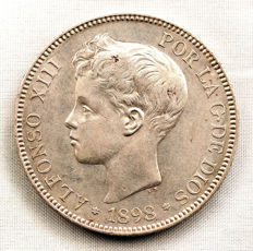 Spain – Alfonso XIII – 5 pesetas in silver – 1898 – Madrid