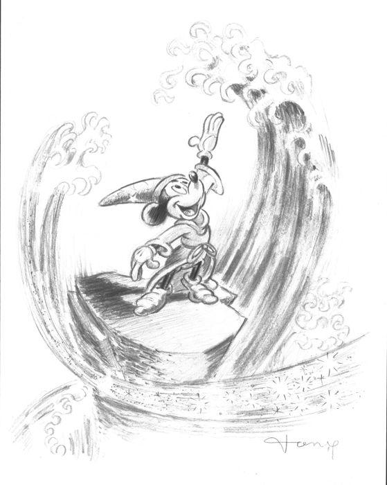 Fernandez tony original pencil drawing mickey mouse the sorcerers apprentice