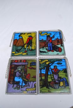 Lead stained glass - Set of 4 pieces - 20th century - Holland.