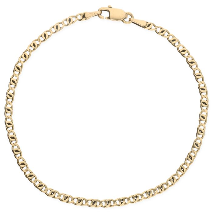 14 kt Yellow gold double curb link bracelet – Length: 19.7 cm