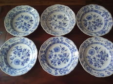 Meissen Teichert -  set of 6 dinner plates zwiebelmuster