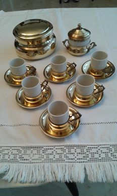 Coffee set for 6 people in ceramic and brass with sugar bowl and bowl with lid