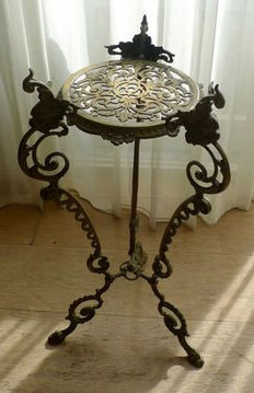 Art nouveau style brass plant or side table, mid 20th century.