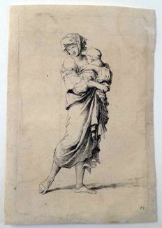 "Salvator Rosa (1603 - 1677) - ""Donna con bambino"" - from ""Diverse figure"" - ante 1710"