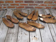 Ten vintage beechwood shoe-lasts (moulds), the Netherlands, first half of the 20th century