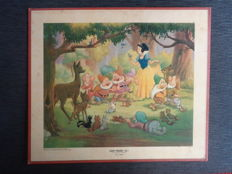 Disney, Walt - 2 Lithographs - Snow White - Good friends, all! + Bambi - Meets his forest Friends (ca. 1947)