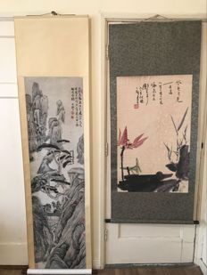 Two scrolls, made after famous artists - China - late 20th century