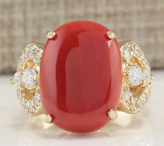 Certified 9..67 Carat Natural Coral And Diamond Ring In 14K Solid Yellow Gold - Ring Size: 7 *** free shipping *** no reserve *** free resizing