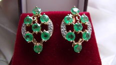Emerald and diamond earrings made of 585 gold – no reserve