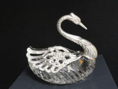 925 sterling silver and glass Swan, candy box or very decorative centrepiece, United Kingdom.