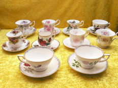 Lot of 10 English Cup & Saucers with floral motif including Royal Albert