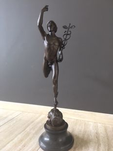 Bronze statue of Mercury Hermes after  Giambologna, 58 cm height, Belgium/France, 20th century