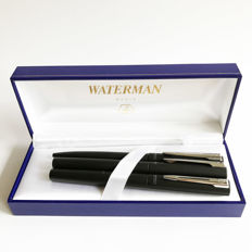 Gift Set ~ Waterman Allure mat black  Chrome trim pen set ~ Fountain Pen, Rollerball and Ballpoint Pen.