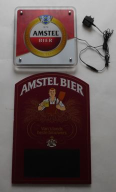 "Lot of Amstel Beer Plastic ""Amstel Bier"" LED illuminated advertising sign incl. adapter + Wooden Amstel writing board /21st century"