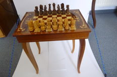 Beautiful small chess table with inlays and rare chess pieces
