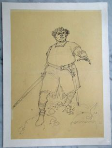 Huppen, Hermann - Original cover sketch - De Torens van Schemerwoude 3 - Germain - (1993)