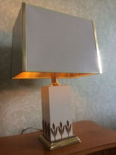 Beautiful classic table lamp with golden glow