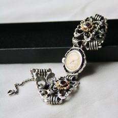 Art Nouveau handcrafted horloge with solid silver gold plated bracelet decorated with old Bohemian Garnets. Unique.