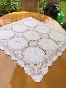 White cotton hand embroidered and crochet square tablecloth, 90 x 90 cm.