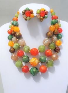 Signed KRAMER of NEW YORK - Demi Parure - Necklace and Earrings 1955 to 60s