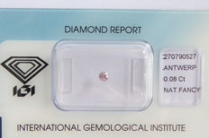 Natural Fancy Intense Pink Diamond 0.08 ct  with IGI cert ***No minimum price***