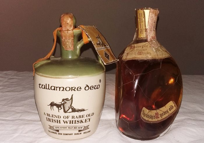 "2 bottles - Dimple ""John Haig & Co. Ltd."" 12 years old & Tullamore Dew decanter ""A Blend of Rare Old Irish Whiskey"""