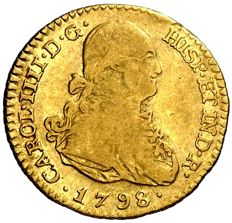 Spain – Carlos IV (1788-1808) – 1 escudo gold coin. Madrid, 1798. MF