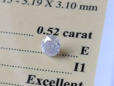 Diamond – 0.52 ct - E / I1 - EXC/EXC/EXC ** No Reserve **