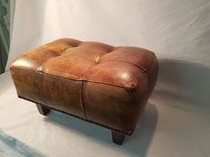 Sheep's leather footstool, second half 20th century