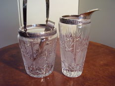 Cocktail set in crystal and Italian silver 800, ca.1960