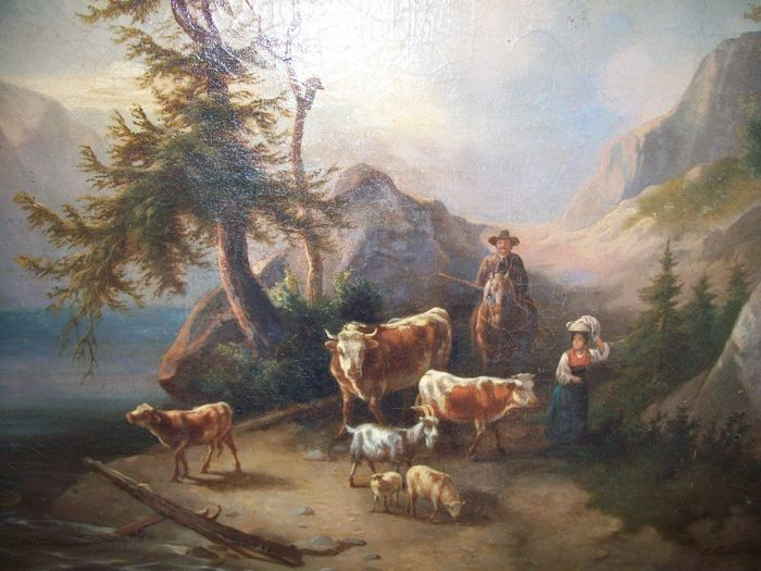 Painting Edmund Mahlknecht (1820 - 1903) - Berglandschaft mit Vieh am Traunstein Österreich (Mountain landscape with cattle at Traunstein Austria)