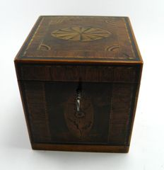 Georgian inlaid specimen wood veneered tea caddy box - English - early 19th century