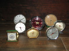Lot of eight vintage mechanical alarm clocks - various brands.