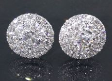 Stud earrings set with diamonds, 1.00 ct in total