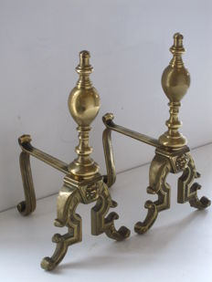 A pair of brass andirons, 20th century