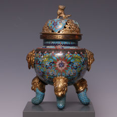 Beautiful, partly gilded, cloisonné incense burner – China – circa 1900