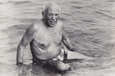 Unknown/Pablo Picasso on the Beach - Cannes - 1965