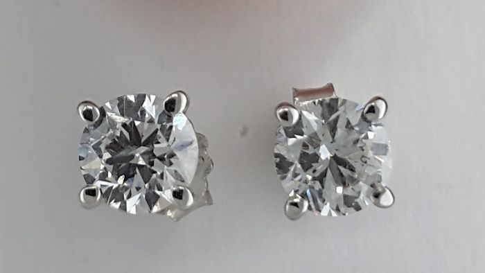 14 kt white gold stud earrings with round diamond of 1.00 ct, D/SI1  *** NO RESERVE PRICE ***