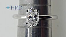 HRD 1.01 ct D/VVS2 oval cut diamond ring 14 kt white gold