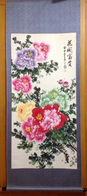 Hand-painted scroll painting of peony on paper - China - late 20th century