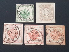 Lombardy Veneto 1853-1858 – Group of 5 specimens, postage due for newspapers