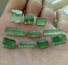 Lot of green tourmaline crystals - 8gm - 40 ct (10)