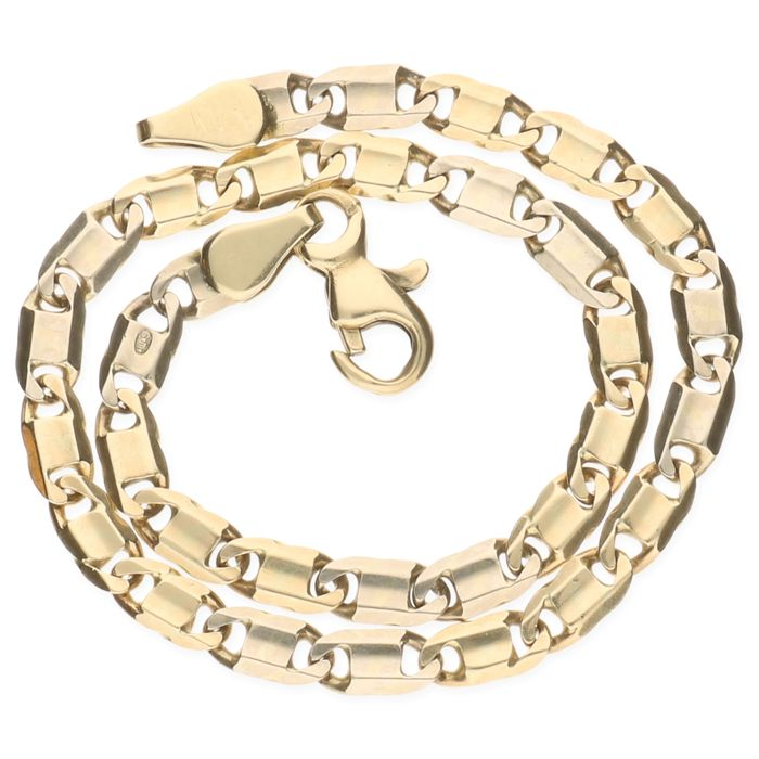 14 kt yellow gold curb/fantasy link bracelet – Length: 19 cm