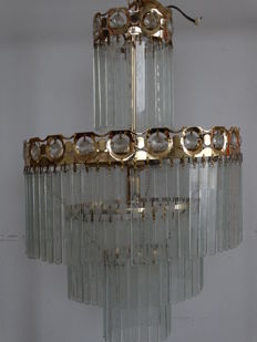 Cut crystal and brass hall lamp, from the 70s