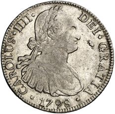 Spain – Carlos IV (1788–1808), 8 reales silver coin – 1798 – Mexico. FM