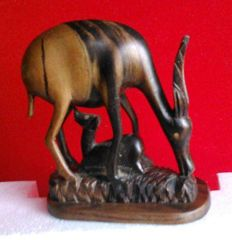 Beautiful African Gazelle sculpture in ebony wood, originally from Mozambique. Circa 1970