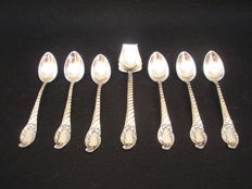 Tea and sugar spoons in Portuguese Silver  19th/20th century