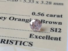 Diamond – 0.56ct - Orangish Brown / SI2 - EXC/EXC/EXC ** No Reserve **